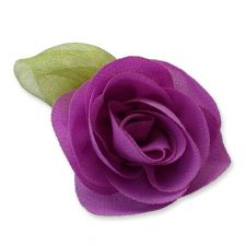 6cm Rose Leaf ORCHID PURPLE Fabric Flower Applique